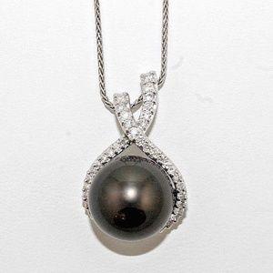 Jewelry - Black Tahitian Pearl Diamond Pendant 18K WG .72Ct